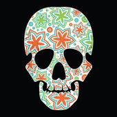 Floral skull isolated black grunge background — Stock Vector
