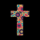 Květinové kříž na pozadí černé grunge — Stock vektor
