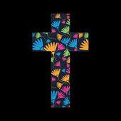 Floral cross on black grunge background — Stock Vector