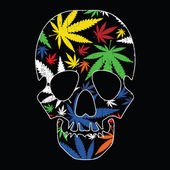 Cannabis leafs and skull on black grunge background — Stockvector