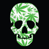 Cannabis leafs and skull on black grunge background — Vector de stock