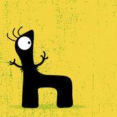 Monster letter on grunge background. — Stock Vector