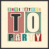 Invitation to party card in vintage style on grunge background — Stock Vector