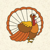 Funny cartoon turkey. Thanksgiving day — Stock Vector