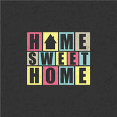 Retro letters Home, Sweet Home in frame — Vector de stock