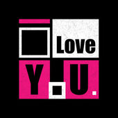 Stylish geometric inscription I Love You on grunge black background.  Vector illustration — Stock Vector