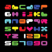 Color alphabet isolated on black. — Vector de stock
