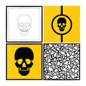 Set of four skulls illustration . — Stock Vector
