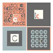 Stylish alphabet in frames. Letter C,Typographic elements. — Stock Vector