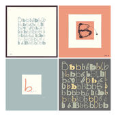 Stylish alphabet in frames. Letter B,Typographic elements. — Stock Vector