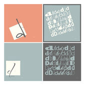 Stylish alphabet in frames. Letter D,Typographic elements. — Stock Vector