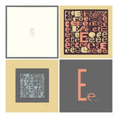 Stylish alphabet in frames. Letter E,Typographic elements. — Stock Vector