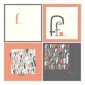 Stylish alphabet in frames. Letter F,Typographic elements. — Stock Vector