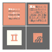 Stylish alphabet in frames. Letter I,Typographic elements. — Stock Vector