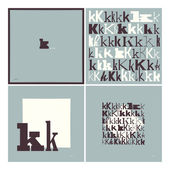 Stylish alphabet in frames. Letter K,Typographic elements. — Stock Vector
