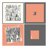 Stylish alphabet in frames. Letter J,Typographic elements. — Stock Vector