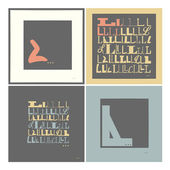 Stylish alphabet in frames. Letter L,Typographic elements. — Stock Vector