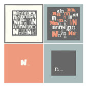 Stylish alphabet in frames. Letter N,Typographic elements. — Stock Vector