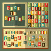 Back to school on blackboard, alphabet, numbers. Retro style. — Stockvektor