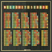 Retro multiplication Table on blackboard. Welcome to school inscription. — Vecteur