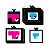 Set of four TV icons. — Stock Vector