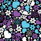 Flowers, skulls and hearts — Vettoriale Stock