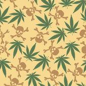Cannabis leafs with skulls — Stockvektor