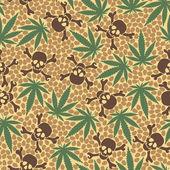 Cannabis leafs with skulls — 图库矢量图片