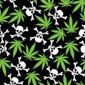 Cannabis leafs with skulls — Stock Vector
