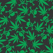 Cannabis leafs with skulls — Vettoriale Stock