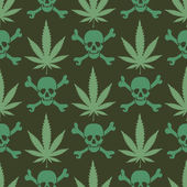 Cannabis leafs with skulls — Stock vektor