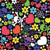 Flowers, skulls and hearts — Stockvektor