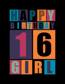Retro Happy birthday card. Happy birthday girl 16 years. Gift card. — Stock Vector