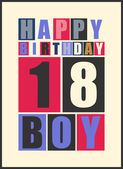 Retro Happy birthday card. Happy birthday boy 18 years. Gift card. — Stock Vector