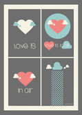 Four valentine days card. Love is in air. — Stok Vektör