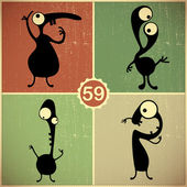 Set of four monsters on retro grunge background — Wektor stockowy