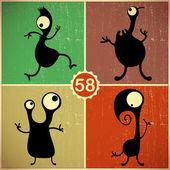Set of four monsters on retro grunge background — Vetorial Stock