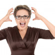 Aggressive screaming businesswoman - Stock Photo