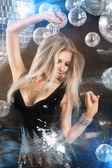 Girl at night disco club — Stock Photo