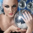 Woman with disco ball — Stock Photo #19509573