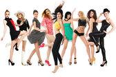 Glada dansande tjejer — Stockfoto