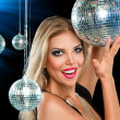Girl at night disco club — Stock Photo