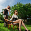 Two young women fashion portrait — Stok fotoğraf