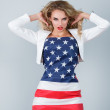 Woman dressed in american flag — Stock Photo