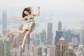 Skok přes panoráma — Stock fotografie