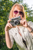 Hipster girl with vintage camera — Zdjęcie stockowe