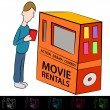 Stock Vector: Movie Rental Machine