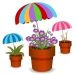 Umbrella Plants — Stock Vector