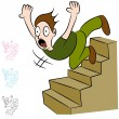 Man Falling Down Flight of Stairs — Stock Vector