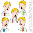 Businessman Public Speaker Microphone Set — Stock Vector